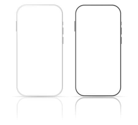 Smartphone mockup screen. Vector design template. Mobile phone frame with blank display