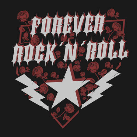 Rock Star with rose, lettering print for card, poster or t-shirt