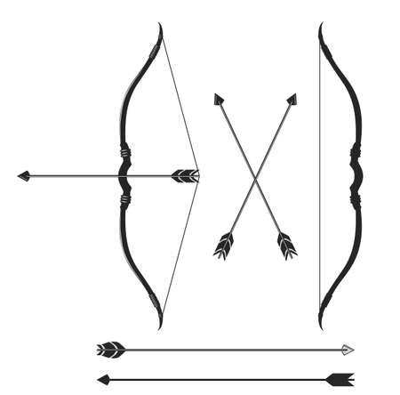 Bow and arrow, indian hunter weapon vector