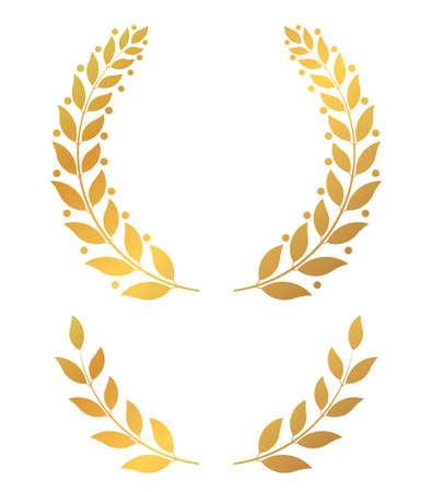 Golden laurel wreaths, round and half vector illustration