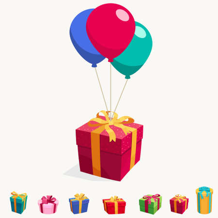 Balloon with gift box. Holiday illustration of flying glossy surprise package. Birthday celebration gift giving. Vector