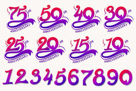Anniversary Design, 75th Years Template celebration sign. Vector