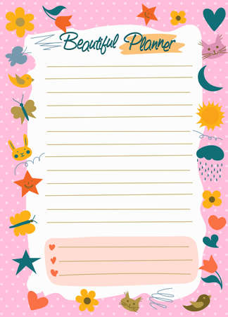 Daily Planner, to do list, Note paper, Stickers templates, cute beauty scheduler or organizer, heart and star In simple kids cartoon style. Vector