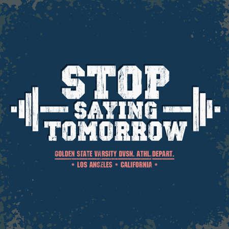 Barbell sport train t-shirt. Fitness tee fashion design. Gym emblem. vector
