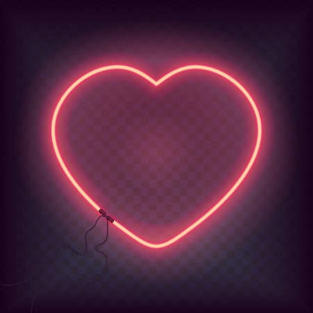 Neon heart glowing sign. Retro Bright heart for Happy Valentine Day greeting card
