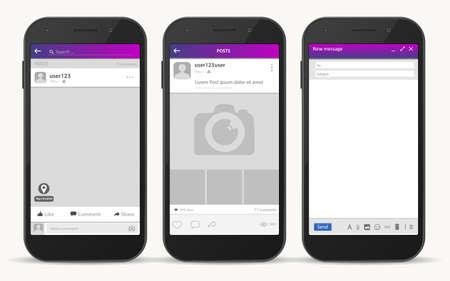 Social network frame, Post messenger template, Vector
