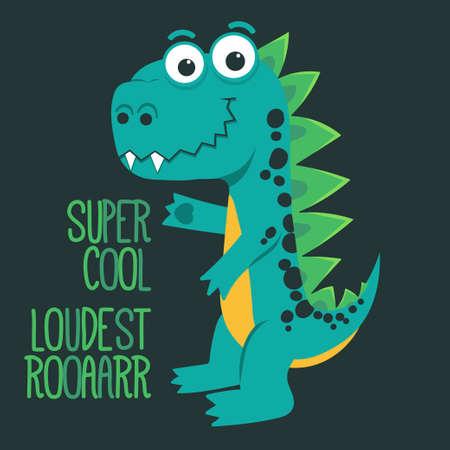 Cartoon cute monster Dinosaur, funny green dragon, little Dino drawing. Vector