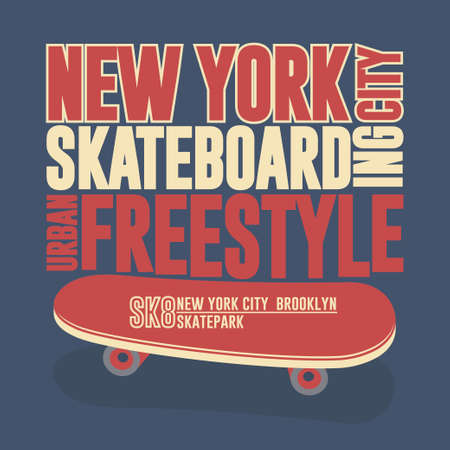 Skateboarding t-shirt New York, typography print emblem graphic design Иллюстрация