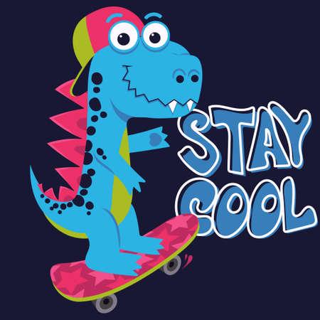 Cartoon cute monster Dinosaur, Freestyle Skate, funny dragon, little Dino drawing. Vector