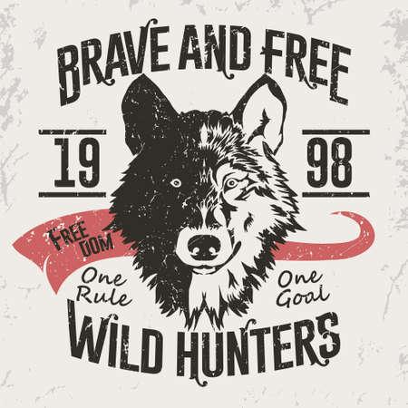 Wolf Emblem, mascot head silhouette print, Vector