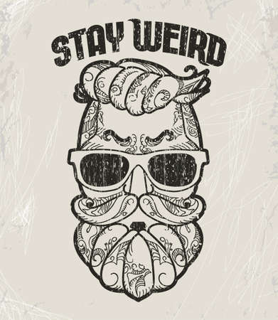 Hipster T-shirt Design, Retro style grunge print. Vector