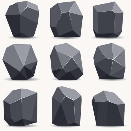 Rock stone cartoon in flat style. Set of different mineral boulders. Natural stones collection. Vector