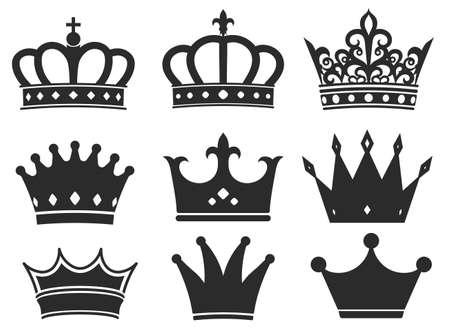 Collezione di icone di sagoma corona. Set di simboli di diadema reale, maestosi elementi di tiara neri. Illustrazione vettoriale