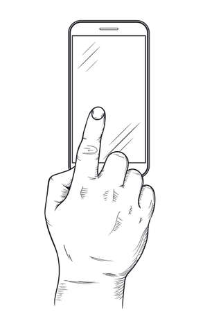Mobile phone display with hand, finger touch screen, Press the button, top view. Vector