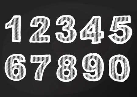 Chalk number on blackboard, school sign hand drawing, Cartoon pub and bar design. Vector Ilustração