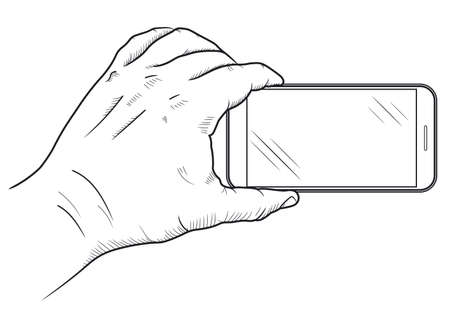 Mobile phone in hand front view. Sketch of human hand which is holding empty smartphone. Cellphone touch screen. Vector