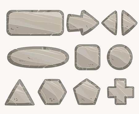 Rock circle button, Stone banner, Stony frames and buttons. vector Иллюстрация