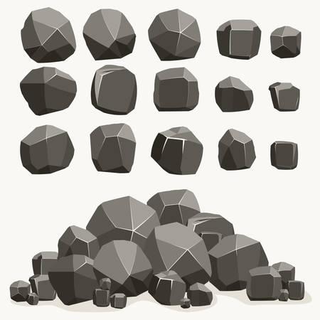 Caricature de pierre de roche dans un style plat. Ensemble de différents rochers polygonaux minéraux. Pierres naturelles. Conception de paysage Collection de vecteurs Vecteurs