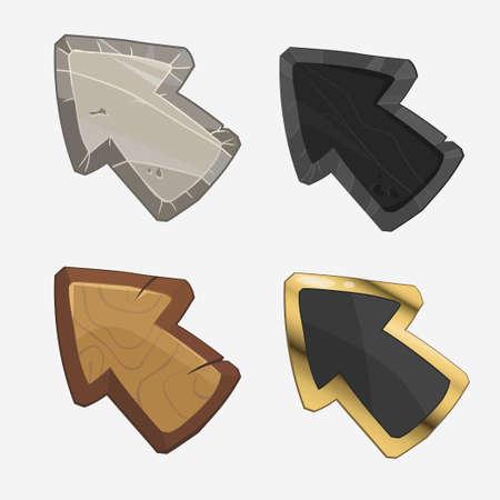 Arrows cartoon, Cursor set. Stone, wooden, gold, silver. Vector