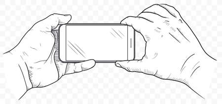 Mobile phone in hands front view. Sketch of human hand which is holding empty smartphone. Cellphone blank touch screen. Vector Иллюстрация