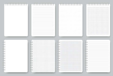 Notebook page set, notepad lined and dots paper. Blank realistic spiral notebooks isolated on gray background. Scrapbook empty sheet. Lined notepaper texture. Copybook office worksheet. Vector Ilustracja