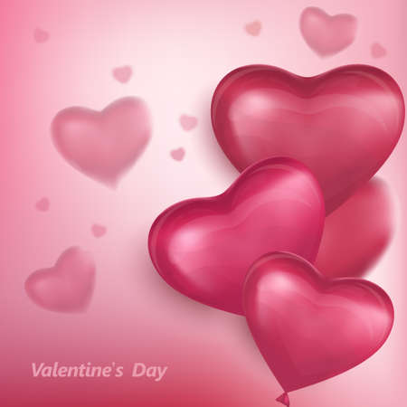 Red hearts, flying bunch of red balloons. Happy Valentines Day, Party decorations. Vector