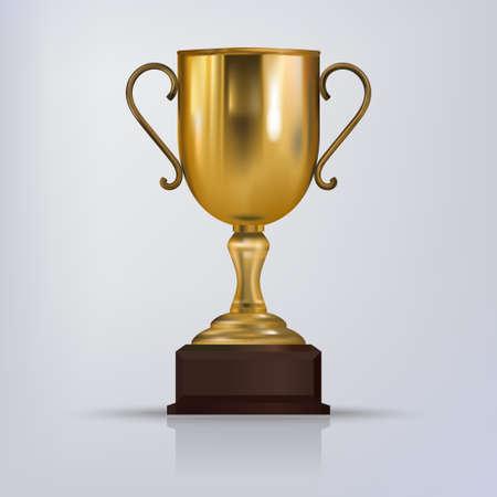 Coupe du vainqueur du trophée d'or. Illustration sportive brillante du trophée du vainqueur d'or. vecteur