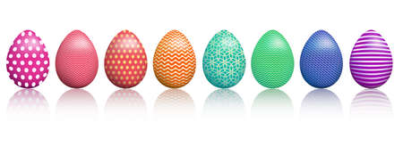 Easter Eggs with Realistic ornament pattern, Happy eater wish. Happy easter celebration, egg set. Vector