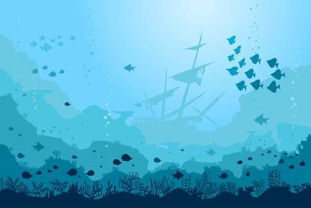 Ocean Underwater world with animals, Sunken ship, Coral. Blue Sea Background with Fishes, seaweed plants and Reefs. Vector