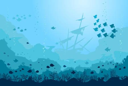 Monde sous-marin océan avec animaux, navire coulé, corail. Fond de mer bleue avec des poissons, des plantes d'algues et des récifs. Vecteur