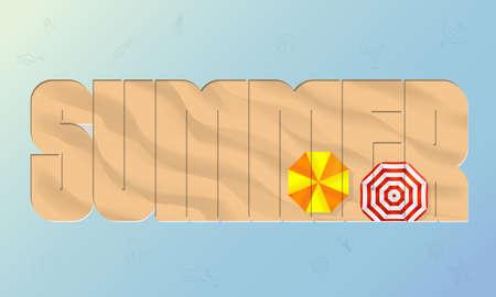 Summer Beach sand background top view. Travel background. Mesh vector illustration