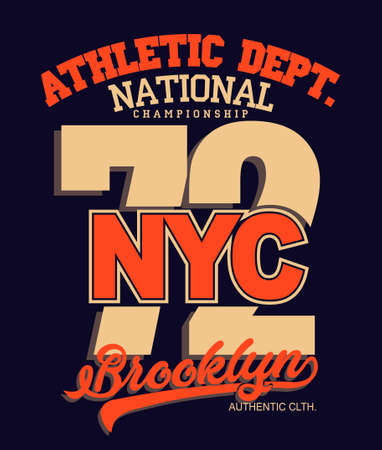 T-shirt stamp graphic, New York Sport wear typography emblem. Brooklyn vintage tee print, athletic apparel design shirt graphic print. vector 向量圖像
