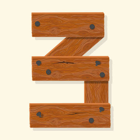Wood number, wooden plank numeric font held with nails. Vector Ilustrace