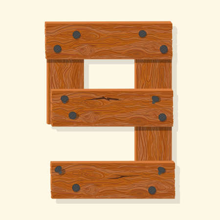 Wood number nine, wooden plank numeric digit font made from planks held with nails. Textured brown oak character. Vector Ilustrace