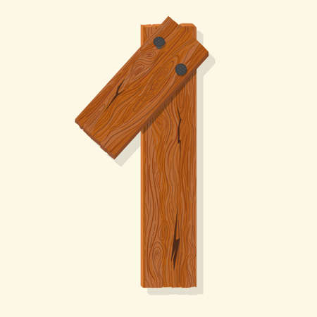Wood number one, wooden plank numeric digit font made from planks held with nails. Textured brown oak character. Vector