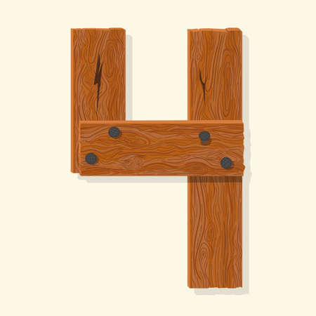 Wood number four, wooden plank numeric digit font made from planks held with nails. Textured brown oak character. Vector