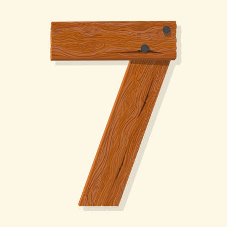 Wood number seven, wooden plank numeric digit font made from planks held with nails. Textured brown oak character. Vector