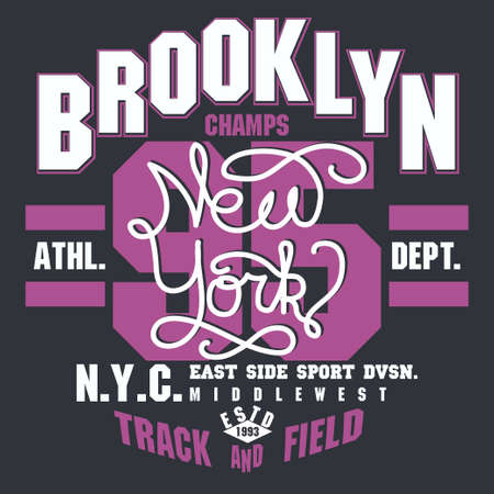 Brooklyn t-shirt graphics. New York athletic apparel design. Vector 矢量图像