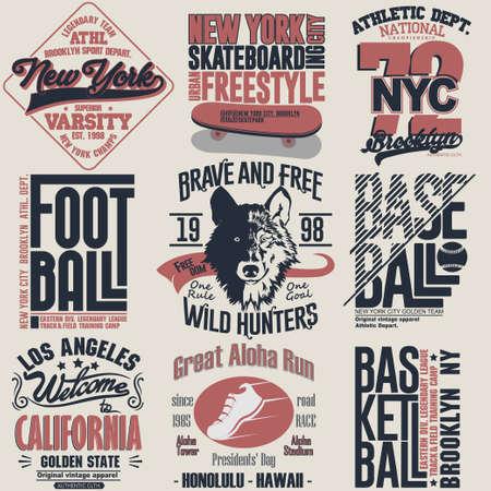 T-shirt stamp graphic set, New York Sport wear typography emblem collection, skate vintage tee print, football athletic apparel design graphic print. vector 矢量图像