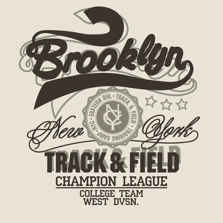 Brooklyn t-shirt graphics. New York athletic apparel design. Vector  イラスト・ベクター素材