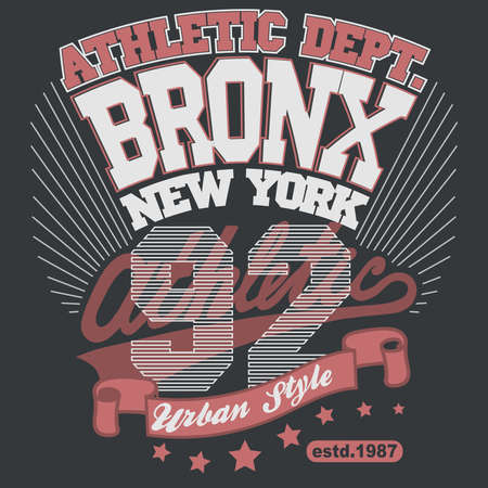 Bronx t-shirt graphics. New York athletic apparel design. Vector