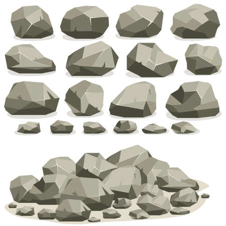 Rock stone cartoon in isometric flat style. Set of different boulders.