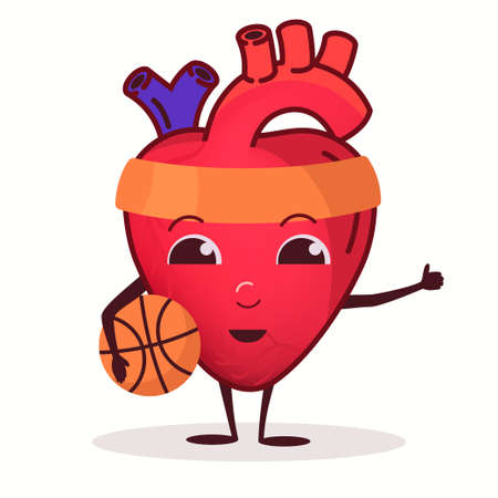 Heart Character with basketball ball, Healthcare training concept, strong heart organ, Healthy lifestyle, gym sport training. Vector
