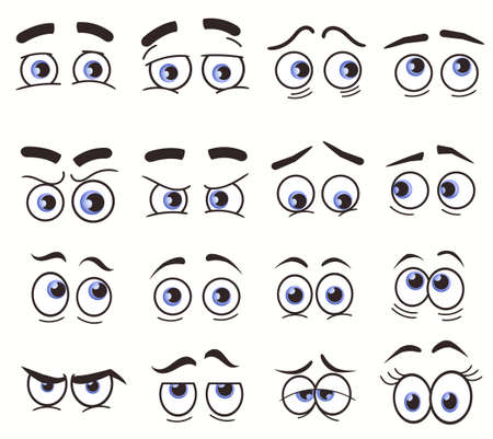 Cartoon Funny Eyes, Cartoon faces. Vector set Ilustración de vector