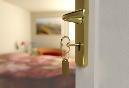 hotel door: half-open door of a bedroom in a three-dimensional scene