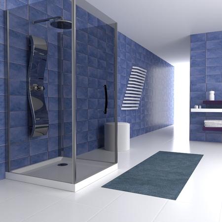 cuarto de ba�o: Simple ba�o azul en 3d con ducha met�lica