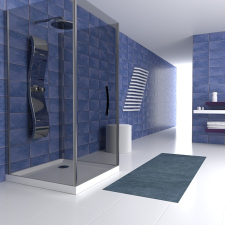 bathtubs: Simple blue bathing in 3d   with metal shower