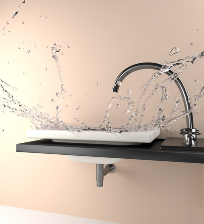 fall of water over a sink  Stock Photo
