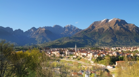Belluno, a city on the Italian Dolomites Stock Photo
