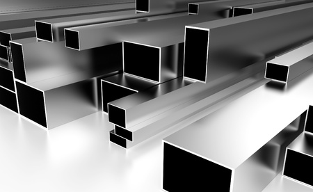 metal beams resting on a white top photo
